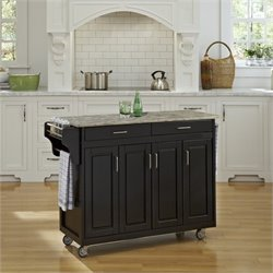 Home Styles Create-a-Cart Concrete Top Kitchen Cart in Black