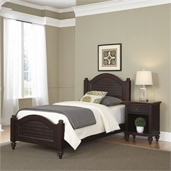 Home Styles Bermuda 2 Piece Wood Twin Bedroom Set in Espresso
