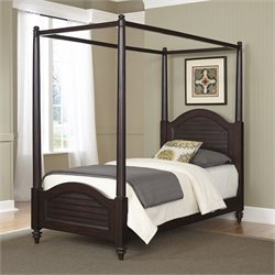 Wood Twin Canopy Bed in Espresso