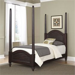 Wood Twin Poster Bed in Espresso