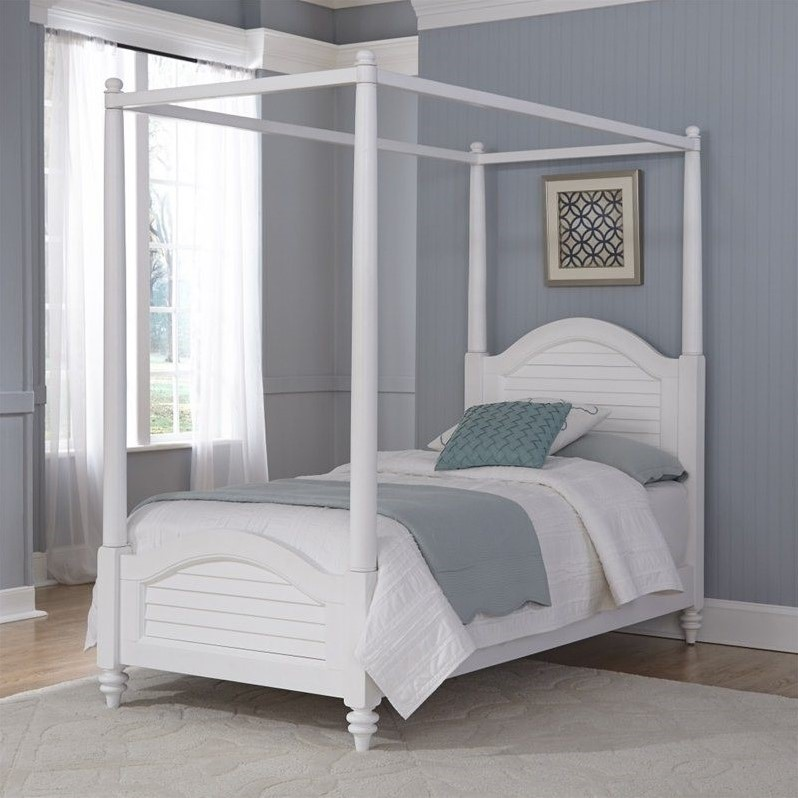 Wood Twin Canopy Bed In White 5543 410