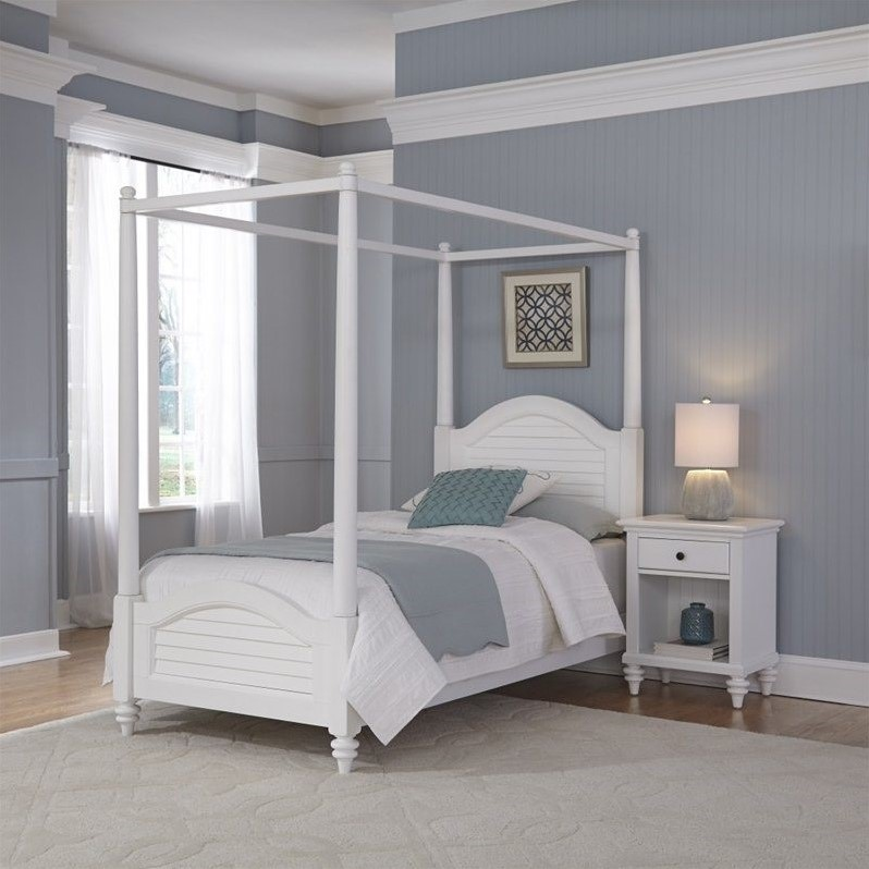 2 Piece Wood Twin Canopy Bedroom Set in White