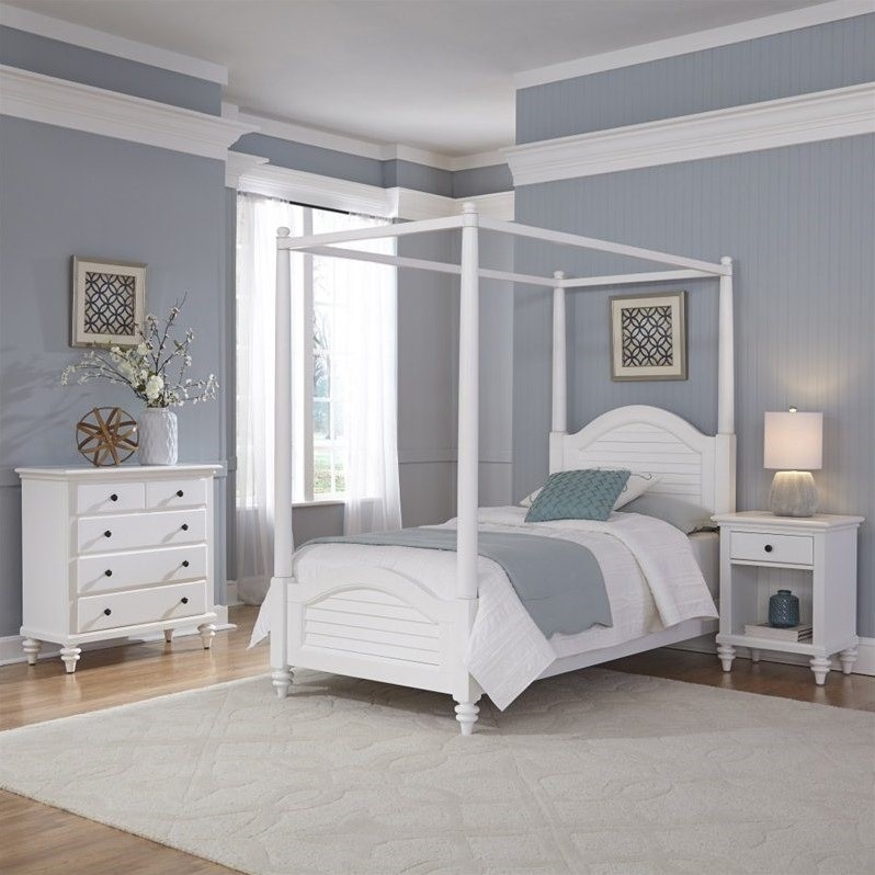 3 Piece Wood Twin Canopy Bedroom Set In White