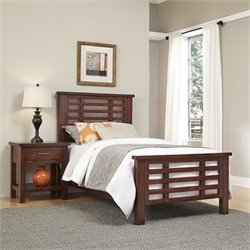 Home Styles Cabin Creek 2 Piece Wood Twin Bedroom Set in Chestnut