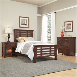 3 Piece Wood Twin Bedroom Set in Chestnut