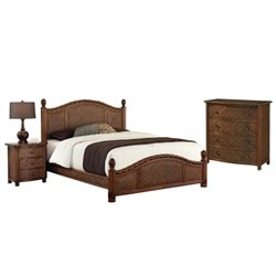 Home Styles Marco Island 3 Piece Wicker Bedroom Set in Cinnamon