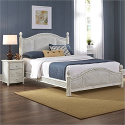 Home Styles Marco Island 2 Piece Wicker Bedroom Set in White