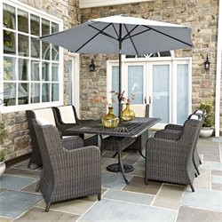 8 Piece Patio Dining Set with Umbrella in Charcoal
