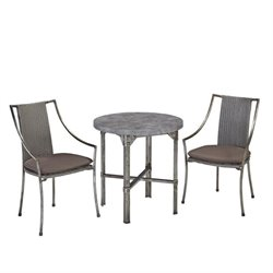 Home Styles Urban 3 Piece Patio Bistro Set in Aged Metal