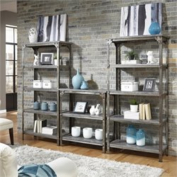 Home Styles Urban Style 3 Piece Bookcase Set in Aged Metal