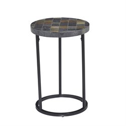 Home Styles Laguna Patio Round End Table in Black with Slate Top