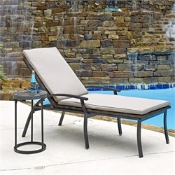 2 Piece Patio Chaise Lounge Set in Black