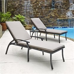 3 Piece Patio Chaise Lounge Set in Black