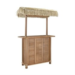 Home Styles Bali Hai Tiki Patio Bar with Wood Slats in Eucalyptus