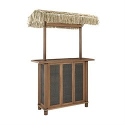Home Styles Bali Hai Tiki Patio Bar with Woven Panels in Eucalyptus