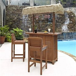 Home Styles Bali Hai Tiki 3 Piece Patio Pub Set in Eucalyptus