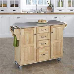 Home Styles Natural Wood Cart with Stainless Steel Top