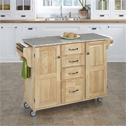 Natural Wood Island Cart with Salt and Pepper Granite Top
