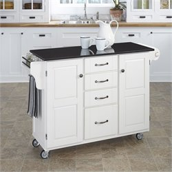 Home Styles Granite Top Kitchen Cart in White