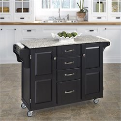 Home Styles Salt and Pepper Granite Kitchen Cart in Black