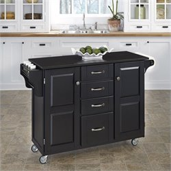 Home Styles Granite Top Kitchen Cart in Black