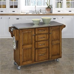 Home Styles Stainless Steel Cottage Oak Kitchen Cart