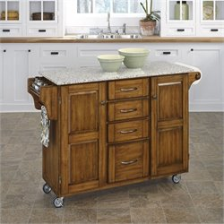 Home Styles Grey Granite Kitchen Cart in Cottage Oak Finish