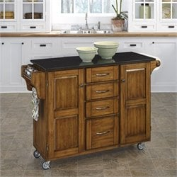 Home Styles Furniture Black Granite Kitchen Cart in Cottage Oak Wood