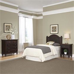Home Styles Bermuda Twin Headboard 3 Piece Bedroom Set in Espresso