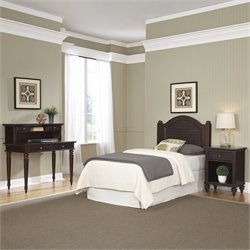 Home Styles Bermuda Twin Headboard 4 Piece Bedroom Set in Espresso