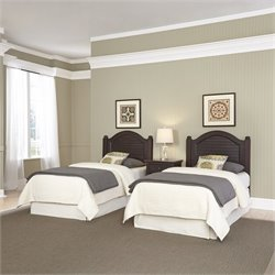 Home Styles Bermuda 2 Twin Headboards and Night Stand in Espresso