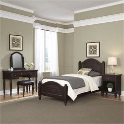 Home Styles Bermuda Twin Bed 4 Piece Bedroom Set in Espresso