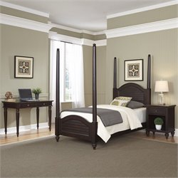 Home Styles Bermuda Twin Poster Bed 3 Piece Bedroom Set in Espresso