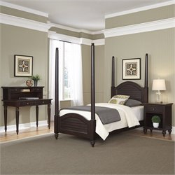 Home Styles Bermuda Twin Poster Bed 4 Piece Bedroom Set in Espresso