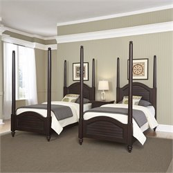 Home Styles Bermuda 2 Twin Poster Beds and Night Stand in Espresso