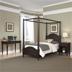 Home Styles Bermuda Twin Canopy Bed 3 Piece Bedroom Set in Espresso