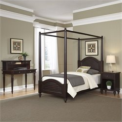 Home Styles Bermuda Twin Canopy Bed 4 Piece Bedroom Set in Espresso