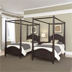 Home Styles Bermuda 2 Twin Canopy Beds and Night Stand in Espresso