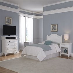 Home Styles Bermuda Twin Headboard 3 Piece Bedroom Set in White