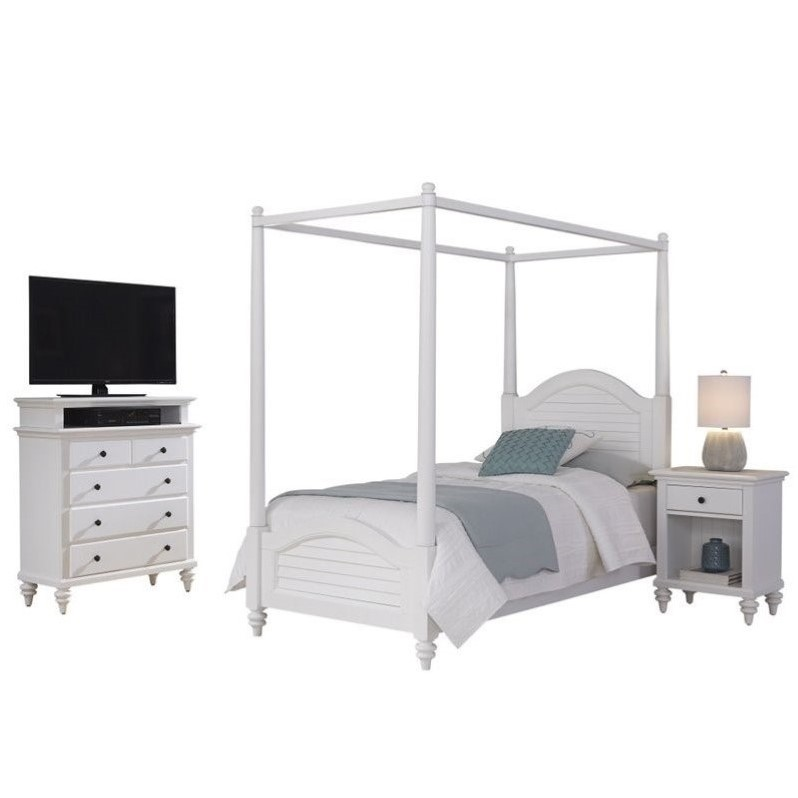 twin canopy bed 3 piece bedroom set in white 5543 4103