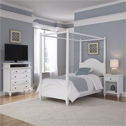 Home Styles Bermuda Twin Canopy Bed 3 Piece Bedroom Set in White