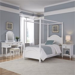 Home Styles Bermuda Twin Canopy Bed 4 Piece Bedroom Set in White