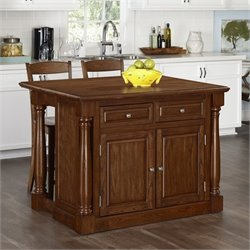 Home Styles Monarch Kitchen Island and Two Stools in Oak