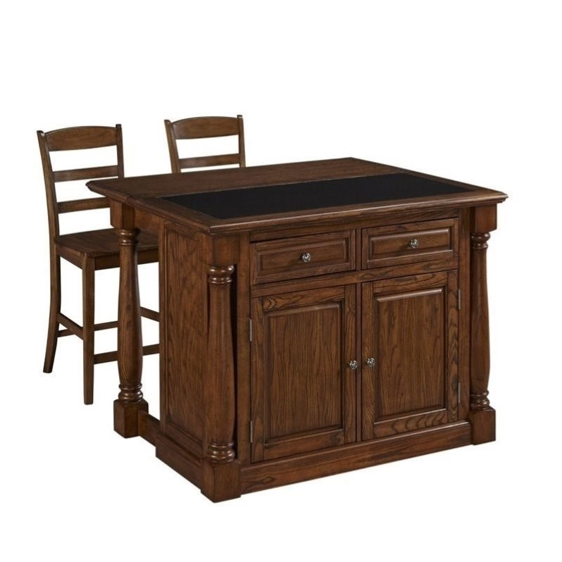 Kitchen Island And Two Stools In Oak 5006 9458