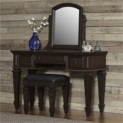 Vanity and Bench in Black Oak