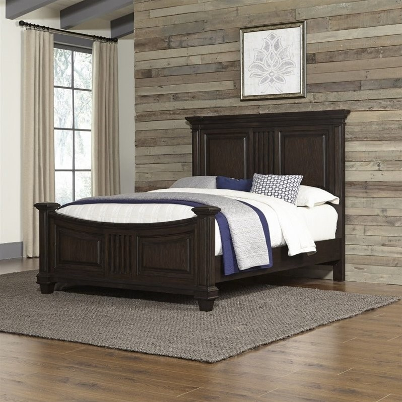Home Styles Prairie Home Queen Bed In Black Oak 5029 500
