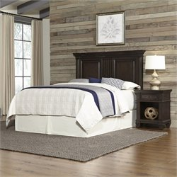 Home Styles Prairie Home Queen Headboard and Night Stand in Black Oak