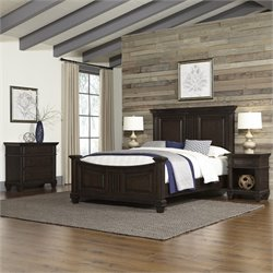 Home Styles Prairie Home Queen Bed 4 Piece Bedroom Set in Black Oak