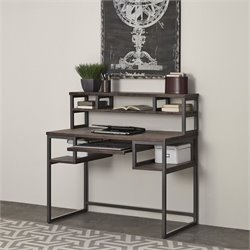 Student Desk and Hutch in Gray