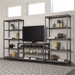 Home Styles Barnside Metro 3 Piece Entertainment Center in Gray
